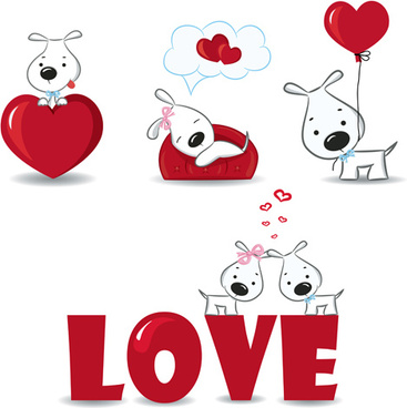 romantic dog and love elements vector