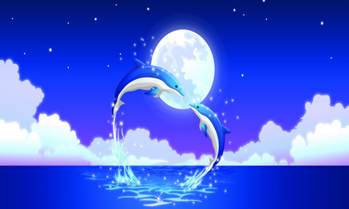 romantic dolphin background vector