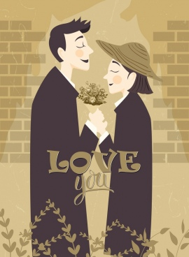 romantic drawing classical design love couple icon