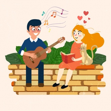 romantic drawing couple dating guitar music colored cartoon