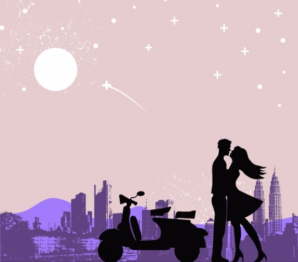 romantic drawing couple kissing moonlight icons silhouette decor