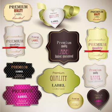 romantic elements labels vector