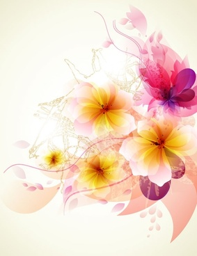 romantic flower background 02 vector