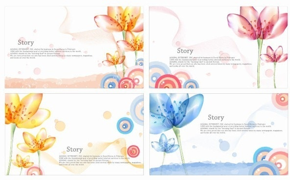 romantic flower vector banners