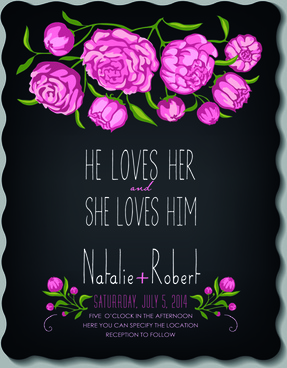 romantic flowers wedding invitations vector set