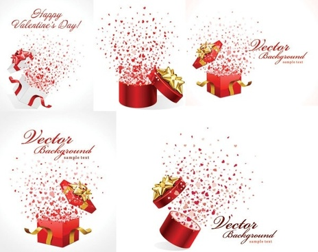 romantic gift opening moments vector