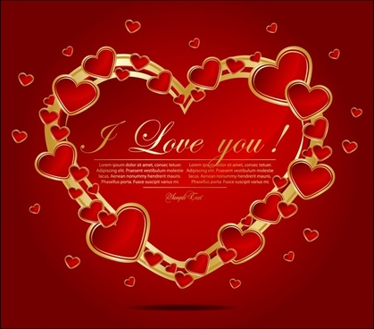 love card template red floating hearts layout