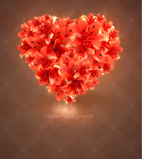 romantic heart cards vector background set