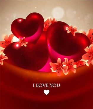 romantic hearts background vector