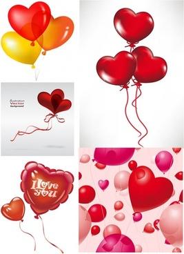 romantic heartshaped balloons vector