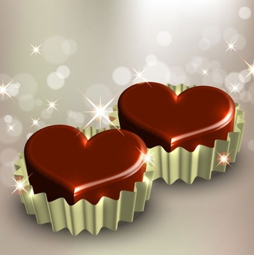 love background heart chocolate candies bokeh lights decor