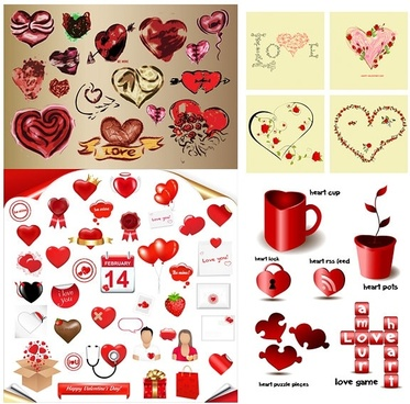 romantic heartshaped element vector
