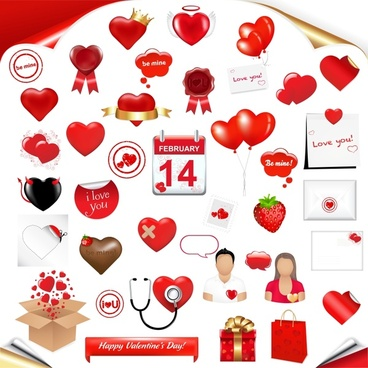 valentine design elements shiny red romance symbols sketch