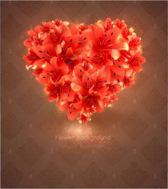 romantic heartshaped flowers background vector