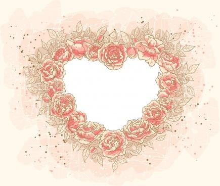 romantic heartshaped flowers vector