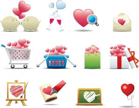valentine icons heart shaped symbols sketch