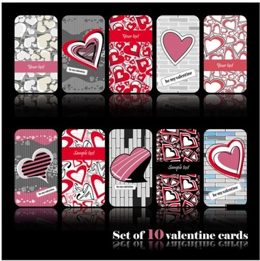 romantic heartshaped pattern cards vector