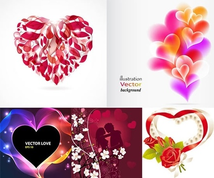 romance background templates colorful hearts floral couple decor