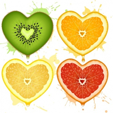 romantic heartshaped pattern vector orange fruit