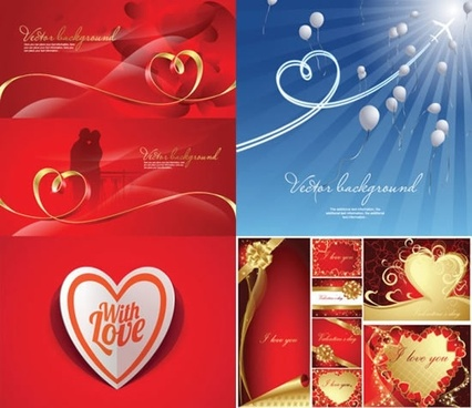 valentine background templates romantic hearts balloons knot decor