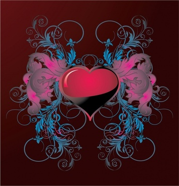 valentine background elegant heart floral curves symmetric design
