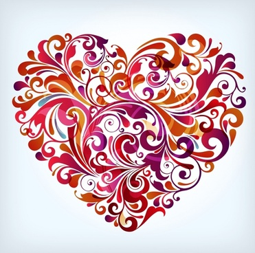 valentine background colorful curves heart shape layout