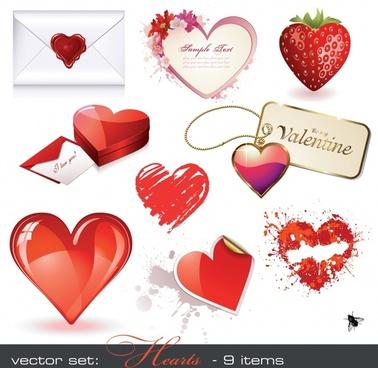 valentine design elements modern colored symbols sketch