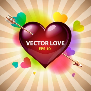 love background shiny colorful decor arrow heart sketch