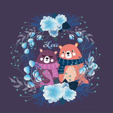 romantic love background cute bear flower wreath decor