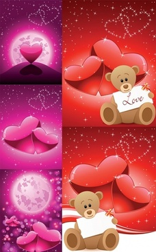 romantic love bear vector