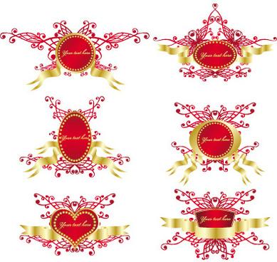 romantic love decorative frame vector
