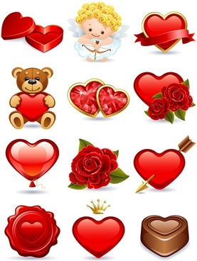 romantic love element vector