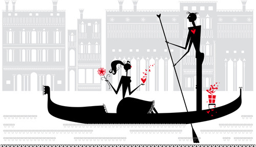 romantic love elements with silhouette vector