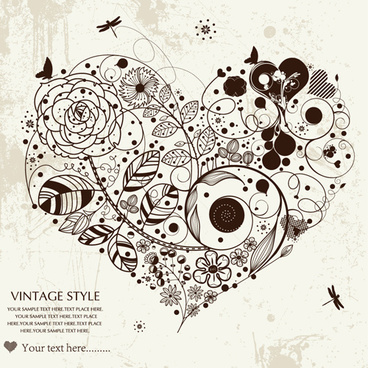 romantic love theme elements vector set