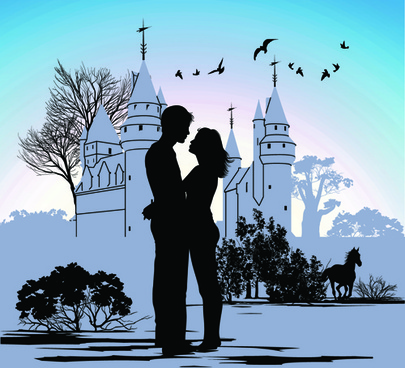 romantic of city with people silhouettes vector