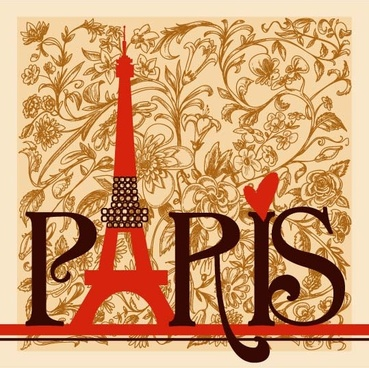 romantic paris floral background vector