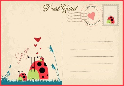 romantic postcard template heart ladybird icon retro style