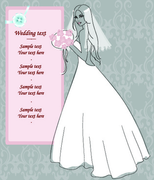 romantic postcard wedding vector art