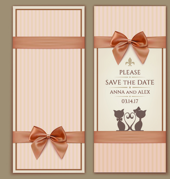 romantic ribbon bow cards vecto illustration