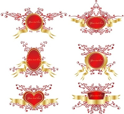 romantic ribbon vector shield badge