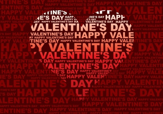 valentines banner red heart decor thick texts layout