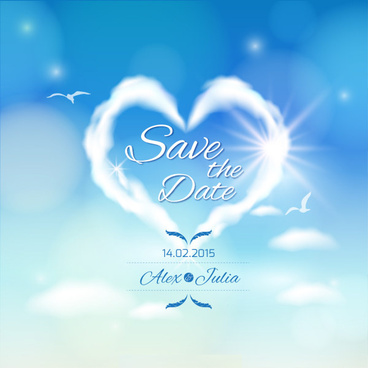 romantic sky and cloud wedding card vector