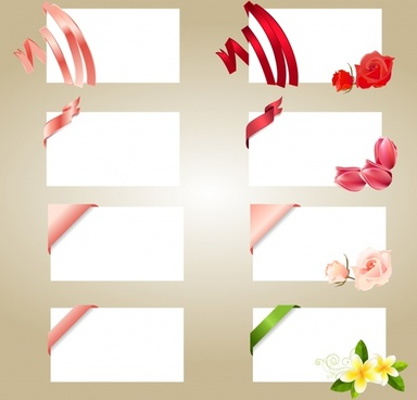 card templates ribbon floral decor modern design