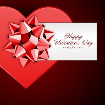 valentines banner elegant 3d red hearts knot decor