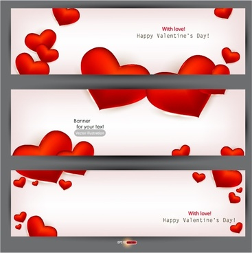 romantic valentine39s day heartshaped red banner vector