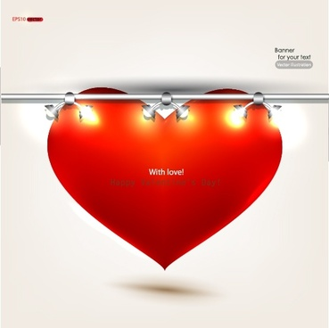 romantic valentine39s day heartshaped red spotlights vector