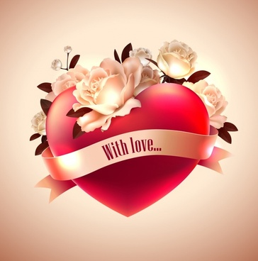 romantic valentine39s day heartshaped roses vector