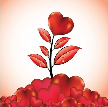 love background hearts tree sketch shiny modern red