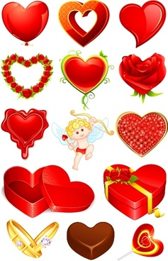 romantic valentine39s day heartshaped vector elements