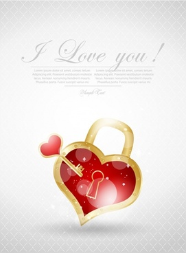 romantic valentine39s day heartshaped vector heart lock key